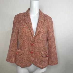 Zara Basic 2 Button Pink Tweed Blazer Size 6